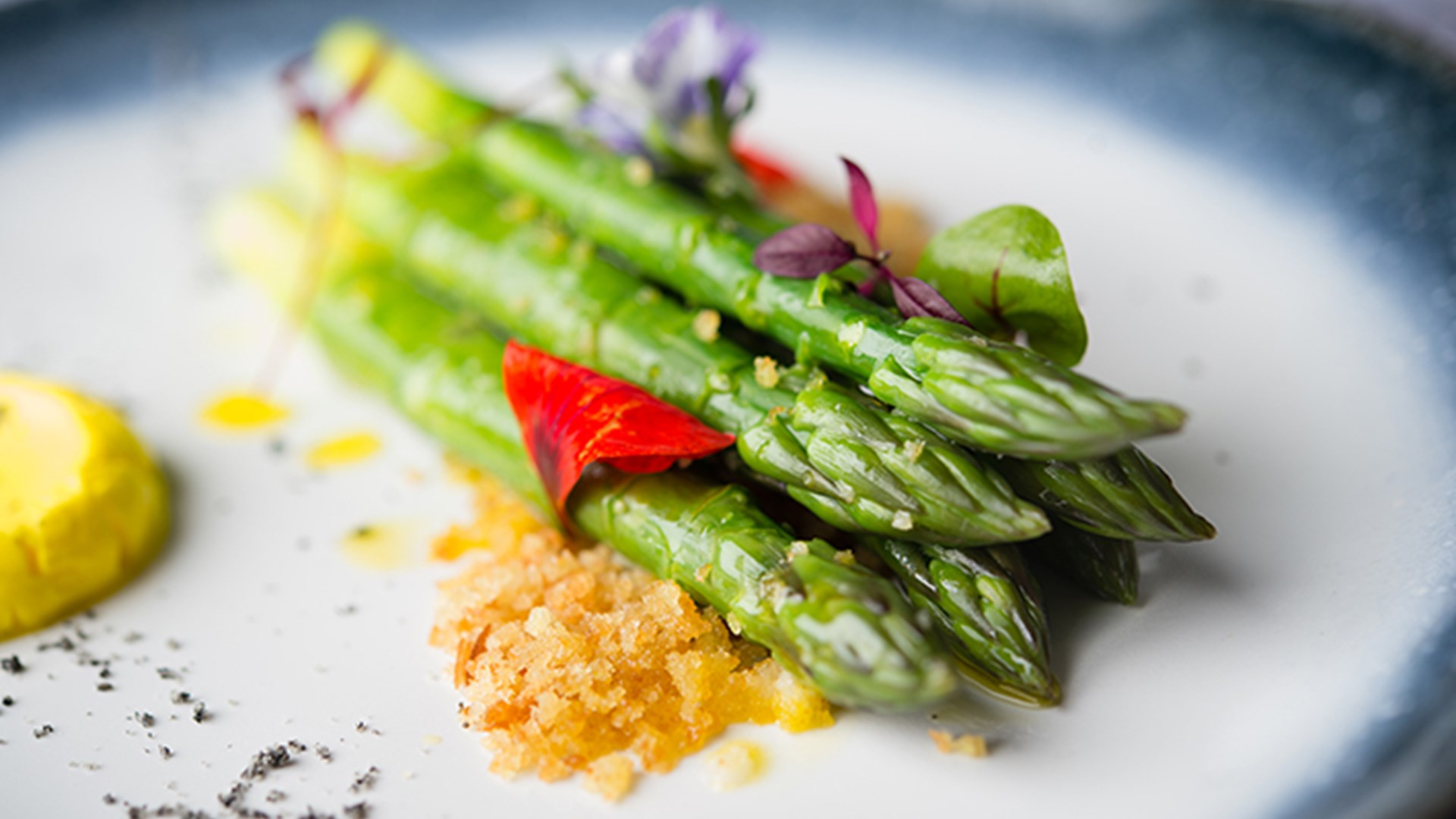 Close up shot of a Plate of Roasted Asparagus served at The Ryder Kitchen at The Belfry
