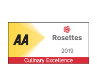 AA rosette badge recognising culinary excellence at the belfry hotel