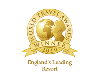 Award Badge recognising the belfry hotel as a winner in England's Leading Resort in the World Travel Awards
